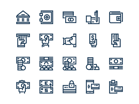 Money. Set of outline vector icons on a white background.
