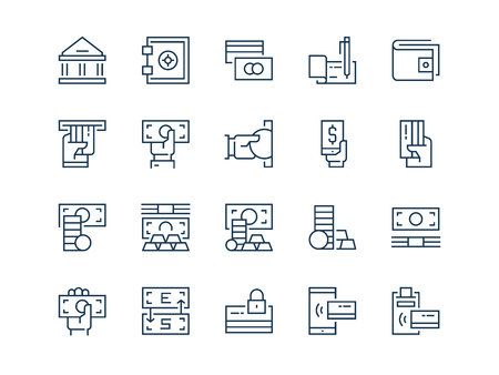 Money. Set of thin outline vector icons on a white background.