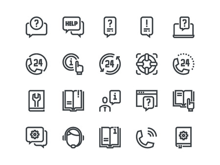 Help and Support. Set of outline vector icons on a white background.