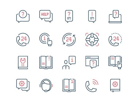 Help and Support. Set of thin outline vector icons on a white background.