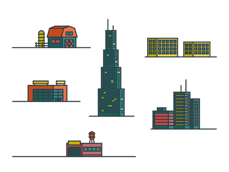 Buildings. Set of outline colorful vector icons.