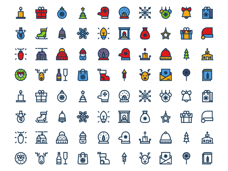 Christmas colorful and colorless outline icons on a white background. Vector set Vectores
