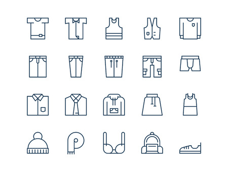 Clothes. Set of thin outline vector icons on a white background