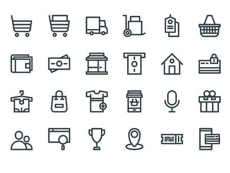 E-commerce. Outline web icons set on a white background Foto de archivo