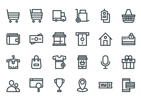 E-commerce. Outline web icons set on a white background Imagens