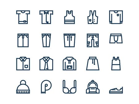 Clothes. Set of outline vector icons on a white background