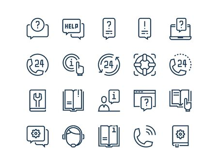 Help and Support. Set of outline vector icons