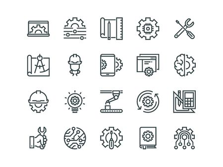 Engineering. Set of outline vector icons. Contains such as Manufacturing, Engineer, Tool, Production, Settings and more