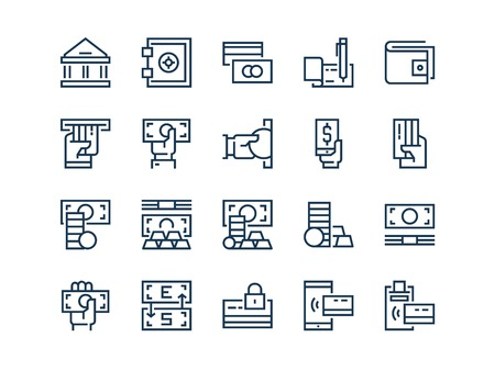 Money. Set of outline vector icons Ilustração