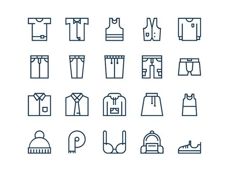 Clothing. Set of outline vector icons