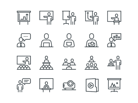 Business presentation. Set of outline vector icons Vectores