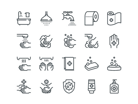 Hygiene. Set of outline vector icons Vectores