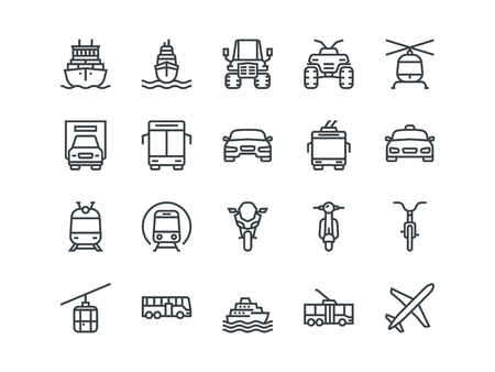 Transport. Set of outline vector icons Imagens