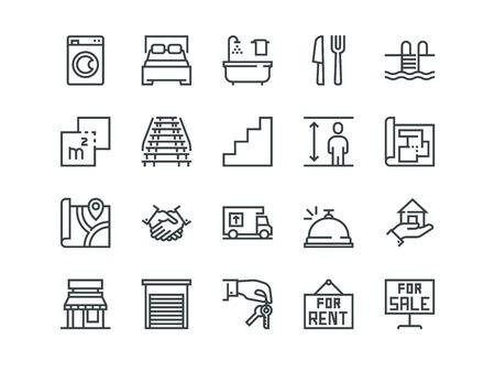 Real Estate. Set of outline vector icons Foto de archivo