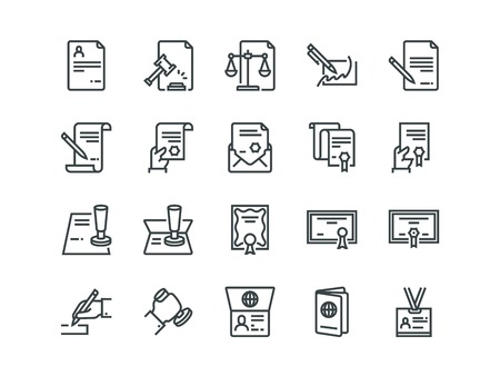 Legal Documents. Set of outline vector icons