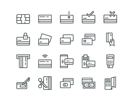Credit card. Set of outline vector icons