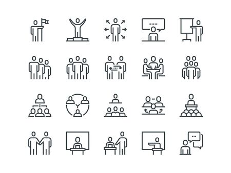 Business people. Set of outline vector icons Vectores