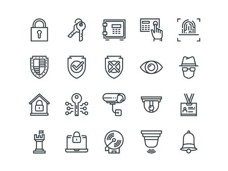 Security. Set of outline vector icons. Includes such as FingerPrint, Electronic key, Spy, Password, Alarm and more. Ilustração