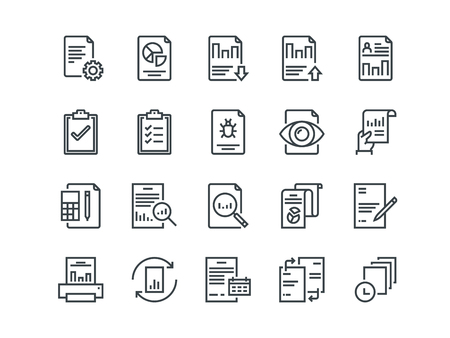 Report. Set of outline vector icons. Includes such as Auto Reports, Calculation, Settings, Generate and more. Ilustração