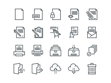 Document. Set of outline vector icons. Includes such as Printer, Shredder, Folder, Archive, Handwriting and more. Vectores