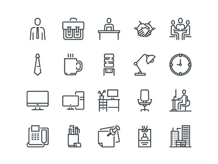 Office. Set of outline vector icons. Includes such as Business Meeting, Workplace, Office Building, Stationery and other.