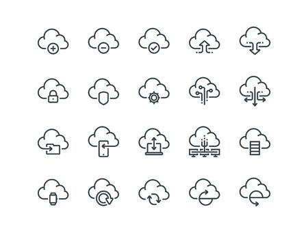 Cloud storage. Set of outline vector icons. Includes such as Data Synchronisation, Transfer, Access and other.
