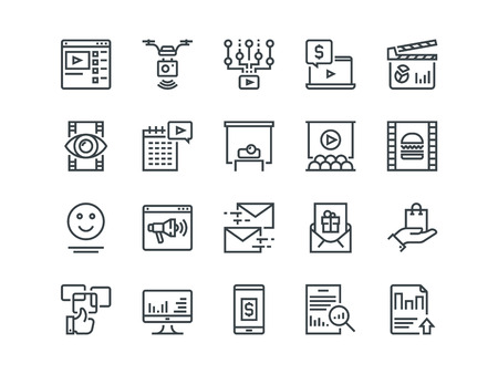 Digital Marketing. Set of outline vector icons. Includes such as Viral video, Food photo, Aerial shooting and other Vectores