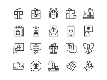 Gifts. Set of outline vector icons. Includes such as Gift Card, Present Offer, Ribbon and other Vectores