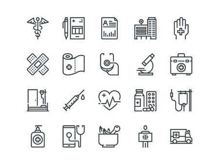 Medical. Set of outline vector icons. Includes such as Emergency, Heartbeat, Equipment and other