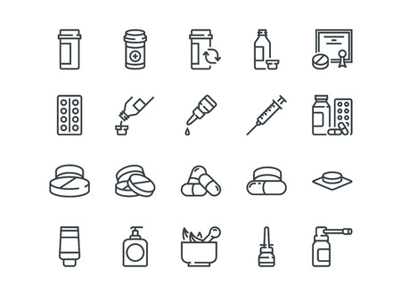 Pills. Set of outline vector icons. Includes such as Gel, Inhaler, Prescription, Syrup and other Ilustração