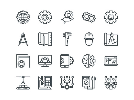 Engineering. Set of outline vector icons. Includes such as Manufacturing, Engineer, Tool, Production, Settings and other. Editable Stroke. 48x48 Pixel Perfect.