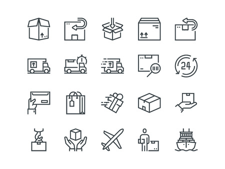 Delivery. Set of outline vector icons. Includes such as Loading, Express Delivery, Tracking Number Search, Cargo Ship and other. Editable Stroke. 48x48 Pixel Perfect. Foto de archivo