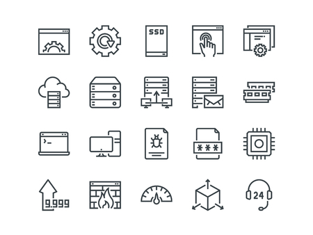 Hosting. Set of outline vector icons. Includes such as SSD Disk, Control Panel, Traffic, Firewall and other. Editable Stroke. 48x48 Pixel Perfect. Vectores