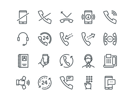 Phone. Set of outline vector icons. Includes such as Calls, Online Support, Mobile Phone and more. Editable Stroke. 48x48 Pixel Perfect.