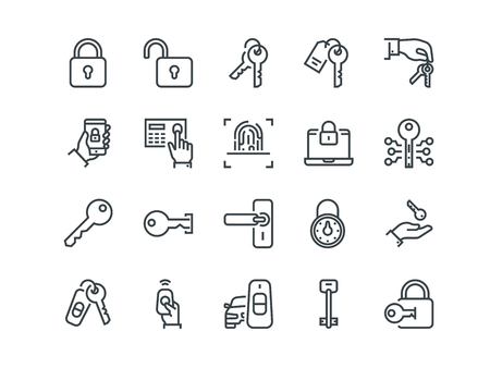 Keys and Locks. Set of outline vector icons. Includes such as Car Keys, Fingerprint and other. Editable Stroke. 48x48 Pixel Perfect. Vectores