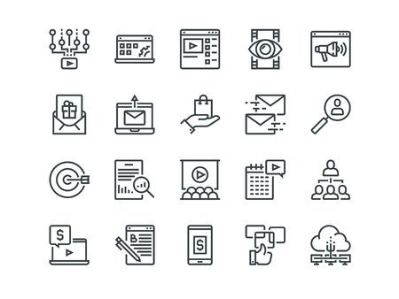 Digital Marketing - Set of outline icons.