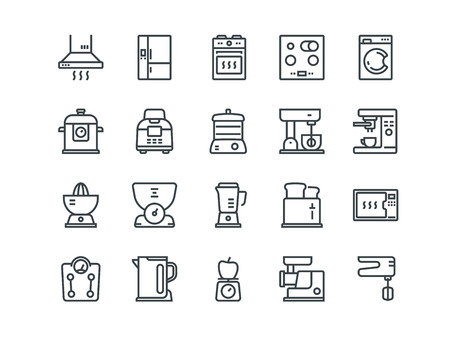 Simple Set of Kitchen Appliances Related Vector Line Icons. Contains such Icons as Meat Grinder, Boiler, Multi Cooker and more. Editable Stroke. 48x48 Pixel Perfect.