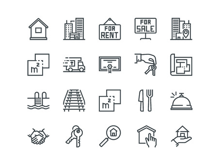 Real Estate - Set of outline icons.