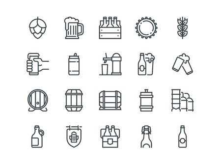 Beer. Set of outline vector icons. Includes such as Bottle, Barrel, Cup, Can and other. Editable Stroke. 48x48 Pixel Perfect. Vectores