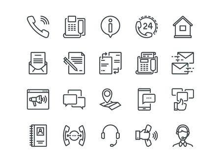 Contáctenos - Conjunto de iconos de contorno.