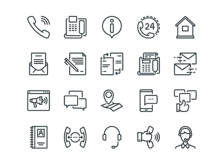 Contact us - Set of outline icons. 矢量图像