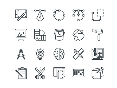 Design and Development. Set of outline vector icons. Includes such as Brainstorming, Retouching, Programming and other. Editable Stroke. 48x48 Pixel Perfect. Vectores
