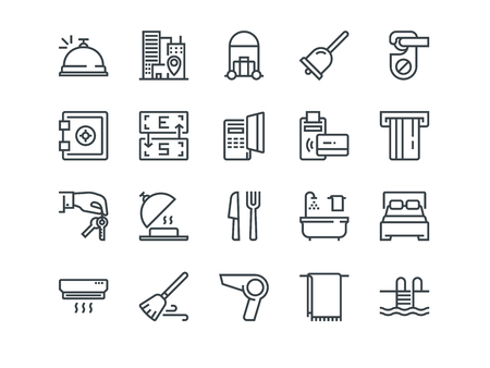 Hotel. Set of outline vector icons. Includes such as Reception, Bag, Currency Exchange and other. Editable Stroke. 48x48 Pixel Perfect. Vectores