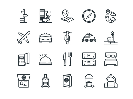 Travel. Set of outline vector icons. Includes such as Hotel, Route, Currency Exchange and other. Editable Stroke. 48x48 Pixel Perfect.