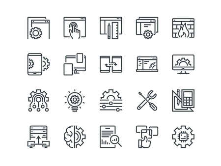 Web Development. Set of outline vector icons. Includes such as UX, Coding, Interface and other. Editable Stroke. 48x48 Pixel Perfect. Vectores