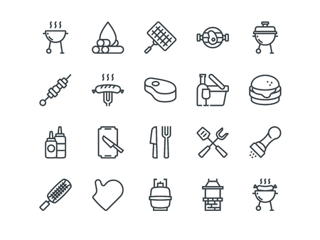 Barbecue. Set of outline vector icons. Includes such as BBQ, Grill, Steak and other. Editable Stroke. 48x48 Pixel Perfect