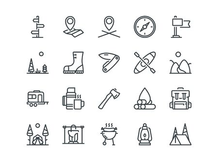 hiking: Camping. Set of outline vector icons. Includes such as Tent, Canoe, Compass and other. Editable Stroke. 48x48 Pixel Perfect