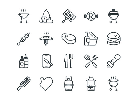Barbecue. Set of outline vector icons. Includes such as BBQ, Grill, Steak and other. Editable Stroke. 48x48 Pixel Perfect.
