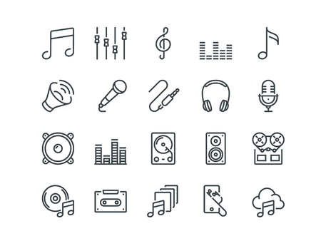 Music. Set of outline vector icons. Includes such as Headphone, Mixer, Cassette and other. Editable Stroke. 48x48 Pixel Perfect.