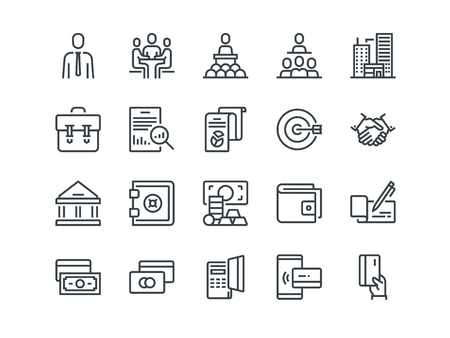 Business and Finance. Set of outline vector icons. Includes such as Teamwork, Bank, Payment and other. Editable Stroke. 48x48 Pixel Perfect. Vectores